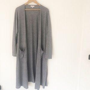 LuLaRoe Sarah Cardigan Solid Gray w/ Pockets XL